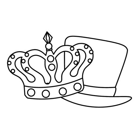 Mardi gras hat and crown design, Party carnival decoration celebration festival holiday fun new orleans and traditional theme Vector illustration