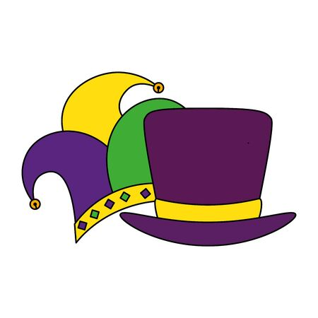 Mardi gras hats design, Party carnival decoration celebration festival holiday fun new orleans and traditional theme Vector illustration