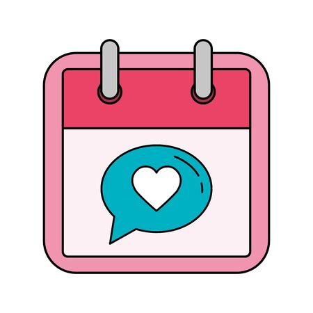 calendar and speech bubble with heart vector illustration design