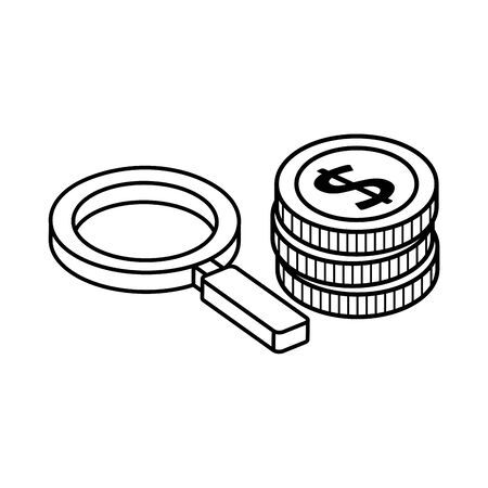 pile of coins with magnifying glass isolated icon vector illustration design 向量圖像