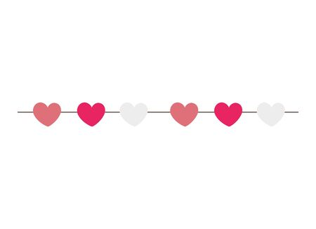 cute hearts hanging decoration isolated icon vector illustration design 일러스트