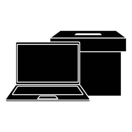 silhouette of laptop with ballot box isolated icon vector illustration design