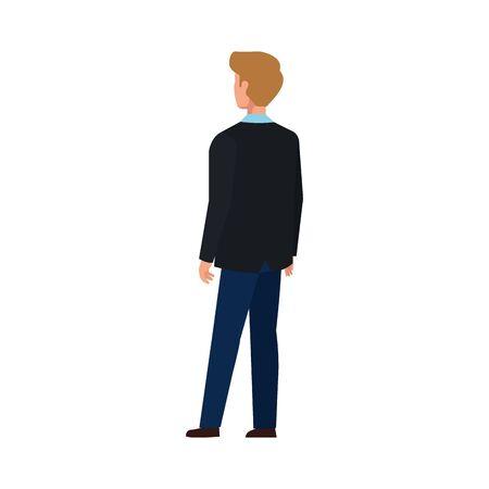back businessman elegant avatar character icon vector illustration design