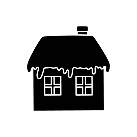 silhouette of house with snow isolated icon vector illustration design Standard-Bild - 138700332