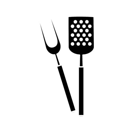 silhouette of spatula with fork barbecue cutlery tools vector illustration design