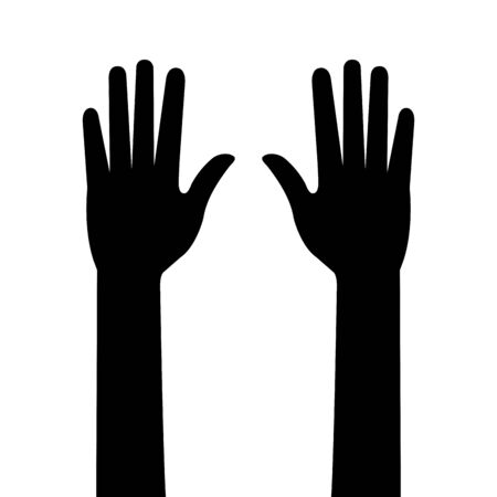 silhouette of hands person isolated icon vector illustration design
