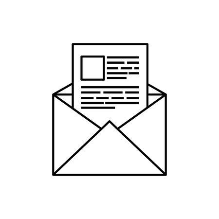 envelope mail communication line style icon vector illustration design 일러스트