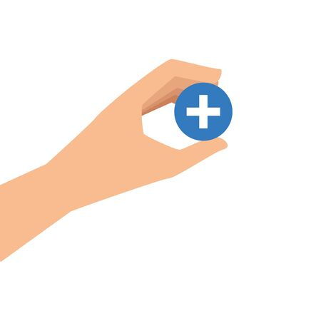 hand and button with cross isolated icon vector illustration design