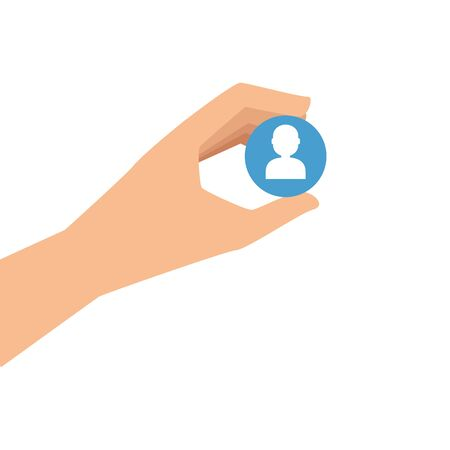 hand and button with silhouette person isolated icon vector illustration design