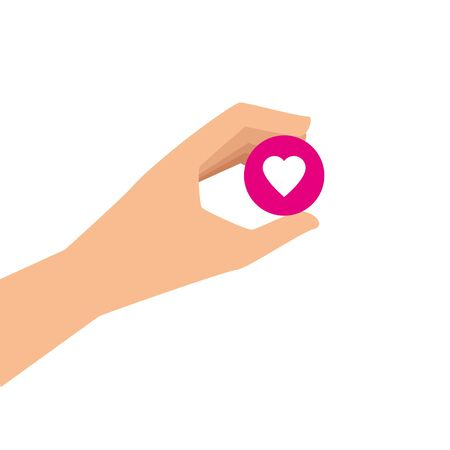 hand and button with heart isolated icon vector illustration design Çizim