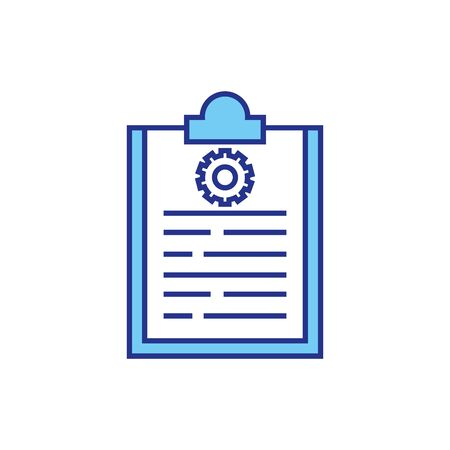 Gear and document design, construction work repair machine part technology industry and technical theme Vector illustration