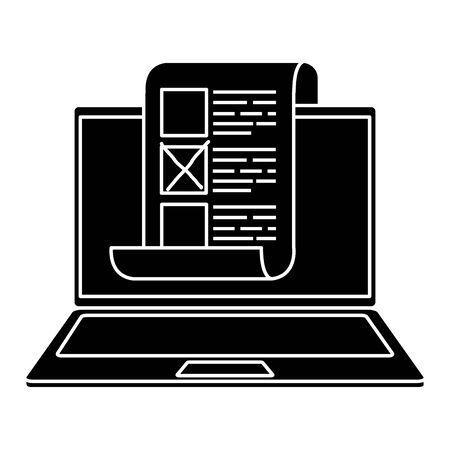 silhouette of laptop computer for vote online vector illustration design