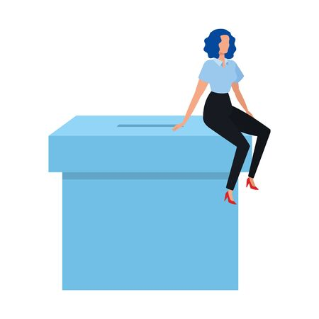 business woman with ballot box isolated icon vector illustration design