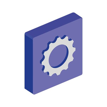 button with gear pinion isolated icon vector illustration design
