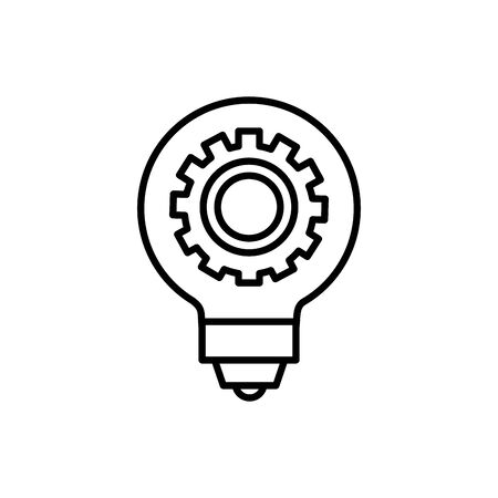 Gear inside light bulb design, construction work repair machine part technology industry and technical theme Vector illustration