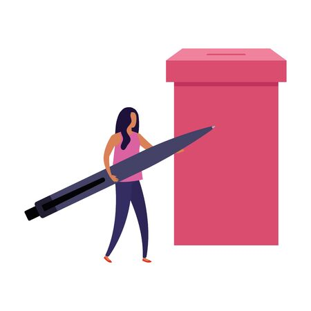 business woman with ballot box and pen vector illustration design