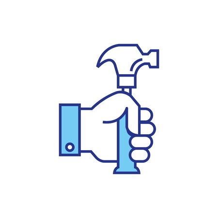 hammer design, Construction work repair reconstruction industry build and project theme Vector illustration Ilustração