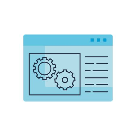 Gears and website design, construction work repair machine part technology industry and technical theme Vector illustration