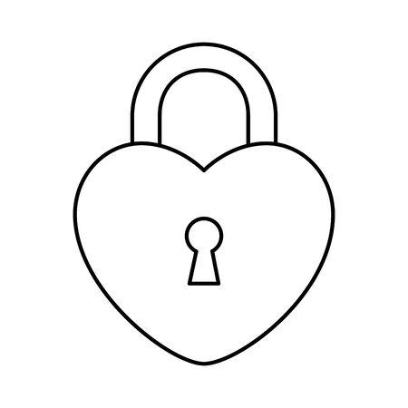 padlock in shape heart isolated icon vector illustration design 向量圖像