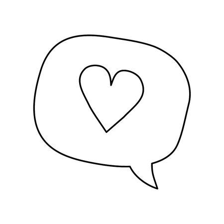 cute heart in speech bubble isolated icon vector illustration design