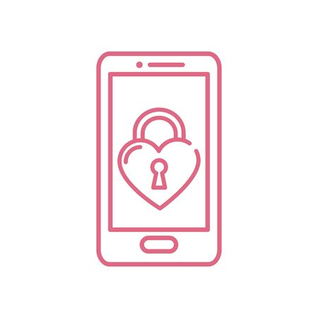 Heart padlock inside smartphone design of love passion romantic valentines day wedding decoration and marriage theme Vector illustration Çizim