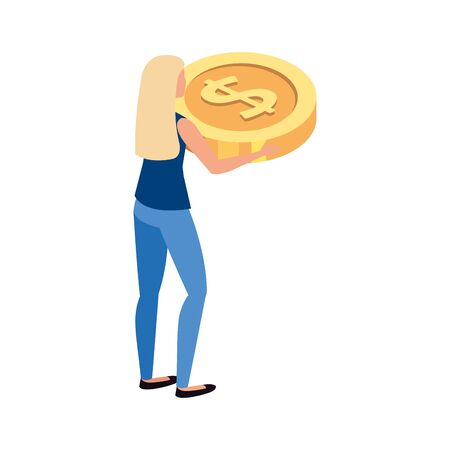 beautiful woman with money coin vector illustration design Stock Illustratie