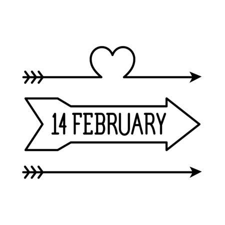 february 14 label , romantic valentine lettering vector illustration design