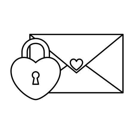 envelope mail with padlock in shape heart vector illustration design