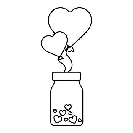 balloons helium in heart shape with bottle vector illustration design 向量圖像