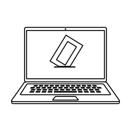 laptop computer for vote online line style icon vector illustration design Illustration