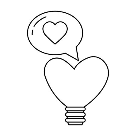 light bulb in shape heart with speech bubble vector illustration design
