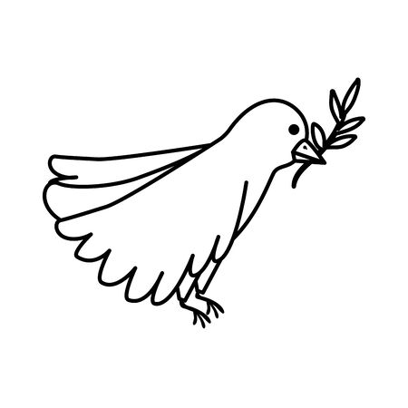 bird with olive branch line style icon vector illustration design Ilustrace