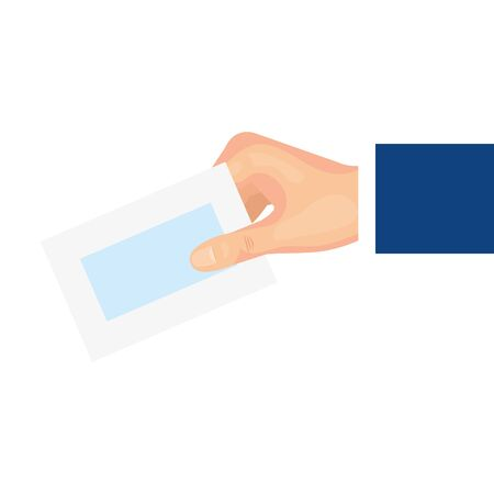 hand with paper isolated icon vector illustration design