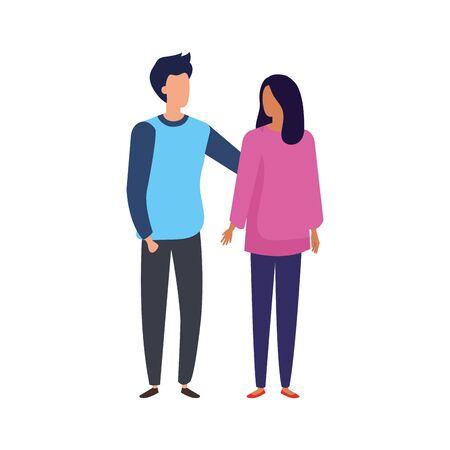 young couple avatar character icons vector illustration design Illusztráció