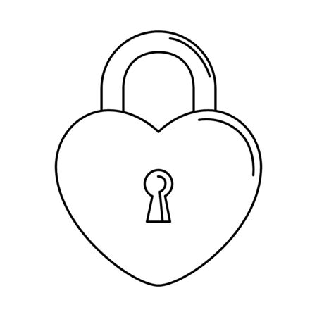 silhouette of security padlock with heart shaped on white background