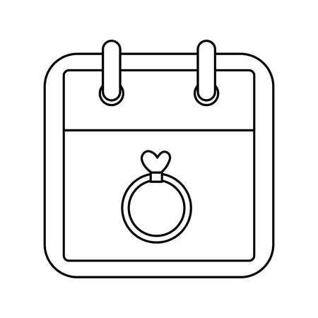 calendar and ring with heart isolated icon vector illustration design