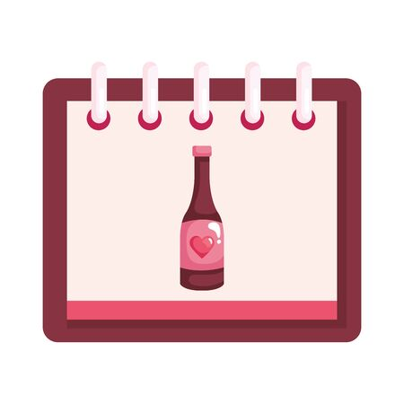 bottle of wine with heart in calendar isolated icon vector illustration design