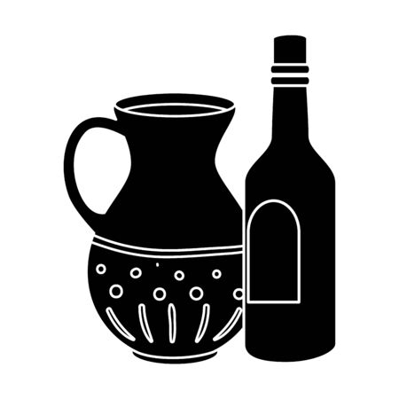 silhouette of bottle wine and teapot isolated icon vector illustration design