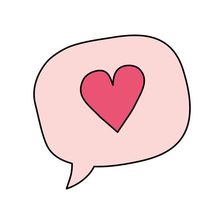cute heart in speech bubble isolated icon vector illustration design