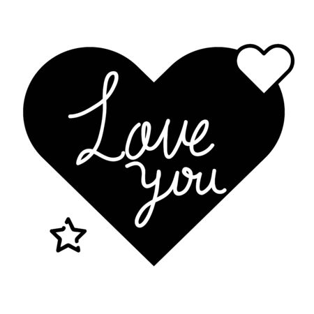 love you lettering in heart isolated icon vector illustration design