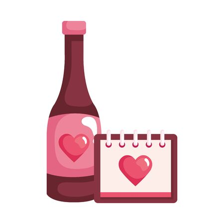 calendar and heart with bottle wine isolated icon vector illustration design