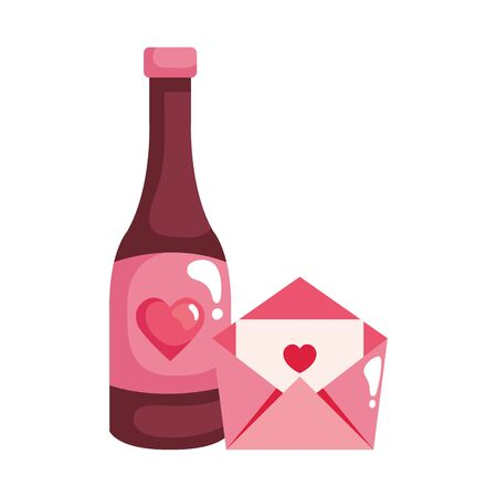 envelope mail with bottle wine isolated icon vector illustration design 일러스트