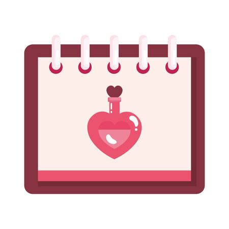 fragrance with heart bottle in calendar isolated icon vector illustration design