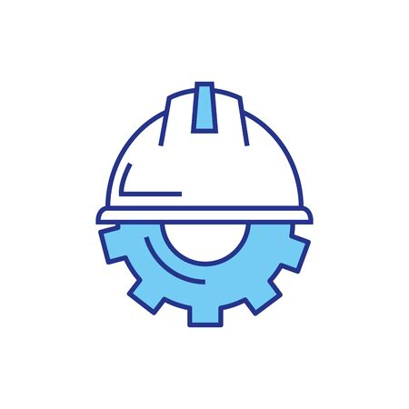 Gear with helmet design, construction work repair machine part technology industry and technical theme Vector illustration