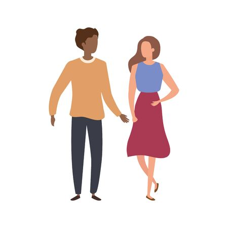 young couple avatar character icons vector illustration design 矢量图像