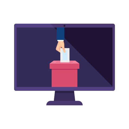computer and hand with ballot box isolated icon vector illustration design