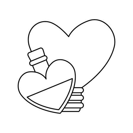 fragrance with light bulb in heart shape vector illustration design Ilustracja