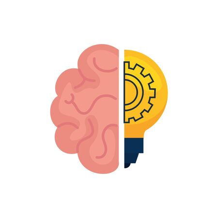 Gear inside light bulb and brain design, construction work repair machine part technology industry and technical theme Vector illustration