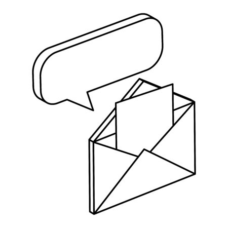 envelope mail with speech bubble isolated icon vector illustration design Illusztráció