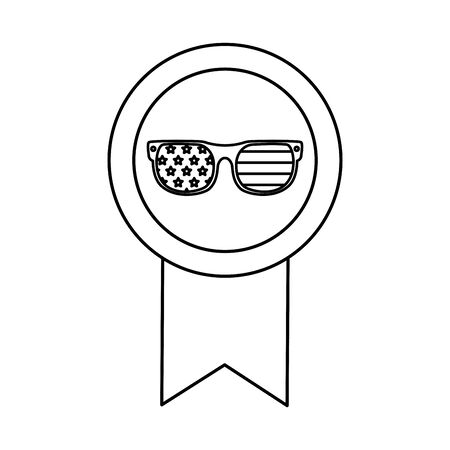 Usa glasses inside seal stamp design, United states america independence labor day nation us country and national theme Vector illustration